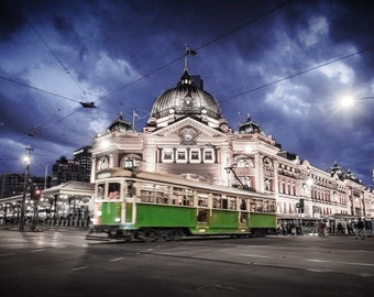 Melbourne Print, Flinders Street Station, Australia Made, Melbourne tram, photography prints, night sky print, wedding gifts, travel decor