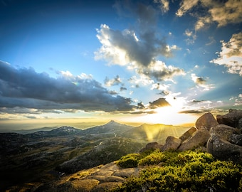 Australia Photograph, Panoramic Wall Art, National Park Poster, Mount Buffalo, Sunset Prints, Extra Large Art, Landscape Canvas, Gift for