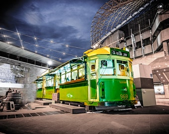 Melbourne Photography, W Class Tram, Australia Travel, Fine Art Print, Flinders Street Station, Australian Gift, Melbourne Wall Art, Green