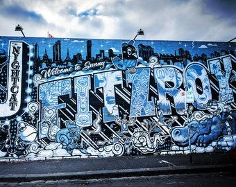 Graffiti Photography Melbourne Print Street Art Blue Apartment Decor Fitzroy Nightcat Birthday Gift for Boyfriend