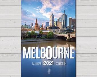 2021 Wall Calendar, Melbourne Photography, Australia Print, Flinders Street, Brighton Beach, 12 month, Christmas Gift, Blue Herring Calendar
