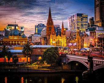 Melbourne Photograph, Sunset wall art, Photography Gifts, Melbourne Print, Travel Poster, Australia made, Wedding Gifts, Flinders Street