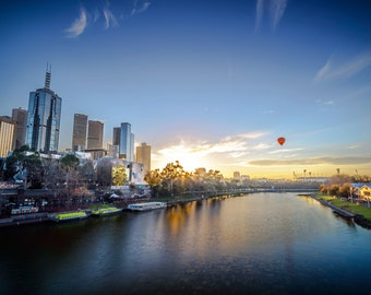 Melbourne Photograph, Sunrise wall art, Photography Prints, Melbourne Australia, Travel Poster, Hot Air balloon print, Wedding Gift for him