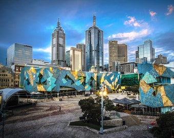 Melbourne Photograph Federation Square Skyline Fine Art Print Office Wall Decor Boyfriend Gift Travel Poster Victoria