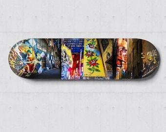 Graffiti Skateboard, Street Art Skatedeck Wall Art, Melbourne ACDC Lane Photograph, Apartment Lounge Art, Wall Decor, Special Gift for Him