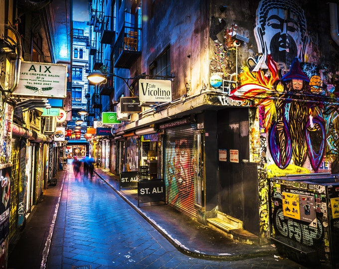 Featured listing image: Graffiti Photography, Melbourne Print, Street Art Wall Photo, Centre Place, Laneway Print Boyfriend Gift for Him