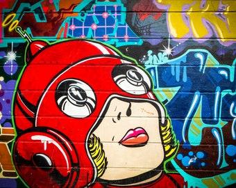 London Street Art, Graffiti Wall Art, urban art prints, woman in red helmet, Teenager Gifts, hipster decor, extra large canvas, mural artist