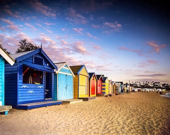 Brighton Beach Art, Beach Boxes, Seaside Decor, Australian made, Melbourne Print, Extra Large Wall Art, Travel Photo, house warming gift