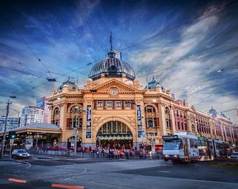Melbourne Wall Art Gift, Flinders Street Station, Photography Print, Australia travel decor, City skyline poster, Tram Art, local seller