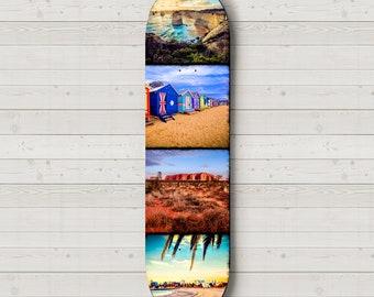 Skateboard Deck Wall Art, Australia Photography, Skateboard Art, Boys Room Decor, Gift for Teenager, 12 apostles print, beach decor, Uluru