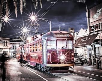 Melbourne Tram, Australia Photograph, St Kilda Print, Tram Art, Acland Street, Tramway Photo, WClass Tram, travel poster art, souvenir