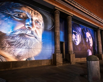 Graffiti Canvas, Street Art Print, Melbourne photography, old bearded man, Mural wall art, Little Bourke, spray paint art, Boyfriend Gift
