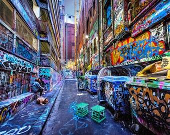 Street Art Wall Art, Graffiti Artwork, Melbourne Print, Color Street, Hosier Lane, Australia Travel, Boyfriend Gift for him, teen wall decor