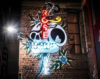 Melbourne Street Art, Graffiti Wall Art, Extra Large Canvas Art, ACDC poster, photo print, neon skull sign, boyfriend gift, travel decor