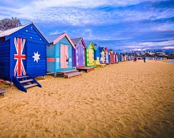 Brighton Beach Boxes, Seaside Decor, Australian made, Brighton Beach Huts, Melbourne Photography, Travel Photo, House warming Gift