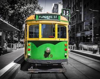 Melbourne Tram, Photography Print, Australia Poster, Flinders Street Station, Green Decor, city photo, vintage tram, travel gift for him