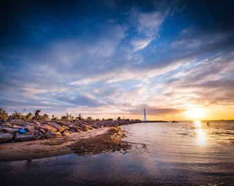 St Kilda Beach, Melbourne Print, St Kilda Pier, Lighthouse Decor, Sunset Photo, Luna Park Melbourne, Christmas stocking, Wedding Gift for