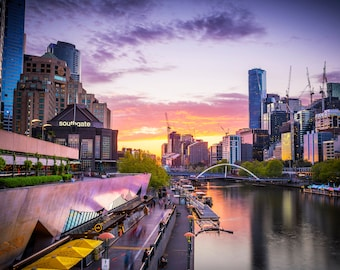 Melbourne Print, Australia photography, city skyline, sunset photo, Huge Wall Art, Travel Decor, extra large canvas, office decor, gift for