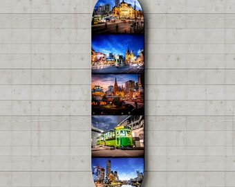 Skateboard Deck Wall Art, Melbourne Photography, Flinders Street, Australia Photo, Lounge Decor, city prints, custom designed, Travel Gift