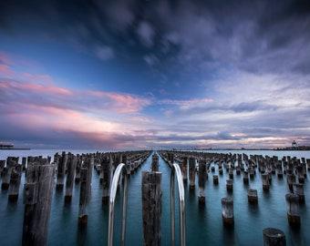 Melbourne Beach, Australia Print, Princes Pier, sunset light, huge wall art, Photography Gift, Port Melbourne, Gift for Him, Office Decor