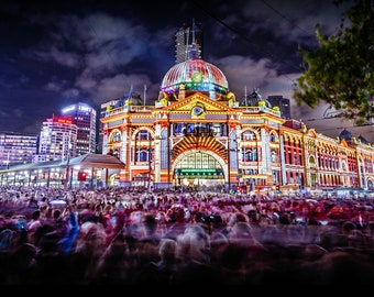 Melbourne Photography, Flinders Street Station, City Night Print, Australia Wall Art, Crowd of People, living room decor, Unique Gift for