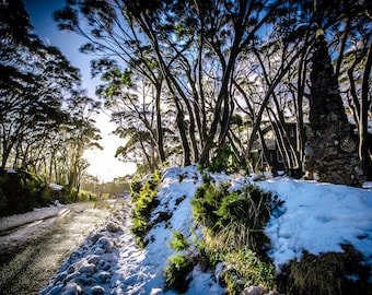 Ski Resort Art, Snow Photo, Mt Baw Baw, white winter decor, National Park Print, Panoramic wall art, Australia Travel Poster, extra large