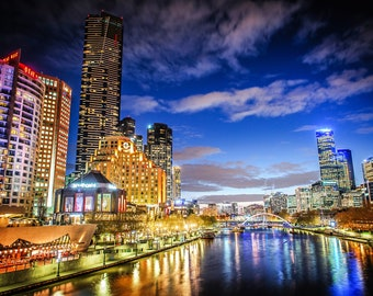 Melbourne Photograph, Australia Poster, city skyline print, Night sky, Extra Large Wall Art, Travel Decor, Fathers Day, Anniversary Gift