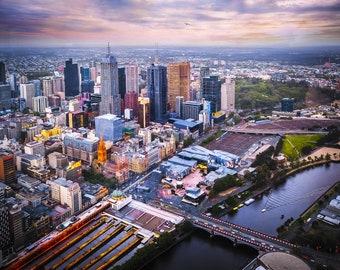 Melbourne Print, aerial photography, Melbourne city poster, cityscape wall art, Melbourne skyline, apartment decor, Australia gifts, Eureka