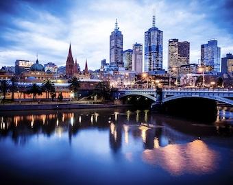 Melbourne Print, Flinders Street Station, Australia Photograph, Blue Wall Art, City Poster, Night sky, Christmas Gift for Him, Travel Gift