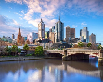 Melbourne Photography, Made in Australia, city skyline, Flinders Street Station, Travel Gift, Extra Large Canvas, zoom office background