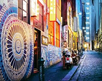 Street Art Graffiti Photo, Melbourne Photography, Hosier Lane, Blue Decor, Office Wall Art, Australia Print, Boyfriend Birthday Gift for him
