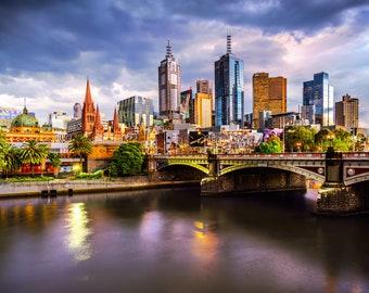 Melbourne Photograph, City Sunset, Sunset wall art, Photography Prints, Melbourne Art, Travel Poster, Flinders Street, wedding gifts