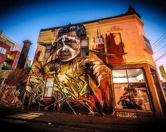 Melbourne Print, Graffiti Photography, Street Art Painting, living room decor, Indigenous Australia Art, Gifts from daughter to Dad, urban