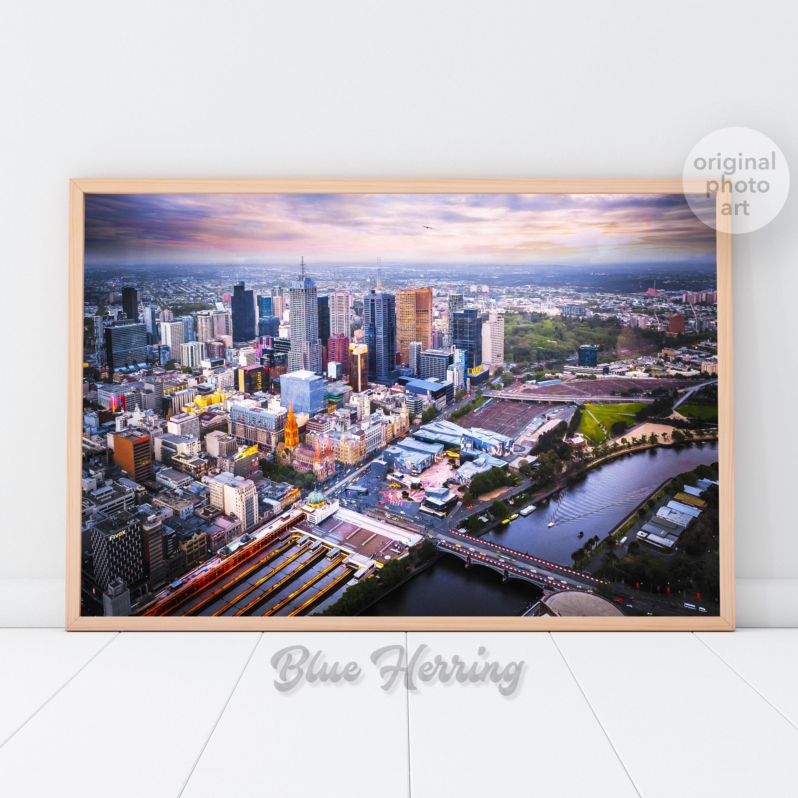 Melbourne skyline aerial photography Melbourne Print Eureka cityscape wall art Australia gifts apartment decor Melbourne city poster