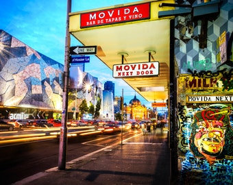 Graffiti Wall Art, Melbourne Poster, Street Art Print, Hosier Lane, urban photography, lounge decor, Flinders Street, Boyfriend Gift, Movida