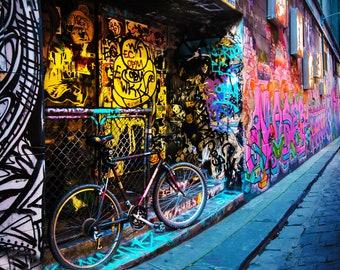 Graffiti Wall Art, Street Art Print, Colour Street, Melbourne Poster, Hosier Lane, Travel Photograph, Spray paint art, boyfriend gift ideas