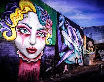 Graffiti wall art, Street Art Photo, Melbourne made, gifts for boyfriend, urban photography, girl clown face, purple decor, extra large art