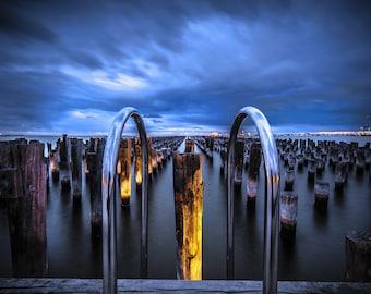 Melbourne Australia Print, Princes Pier, jetty home prints, extra large art, Photography Gift, Port Melbourne, Gift for Him, Office Decor