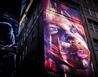 Graffiti Photography, Street Art Photo, Melbourne Print, Hosier Lane, spray paint art, indigenous art, apartment warming gift, for boys