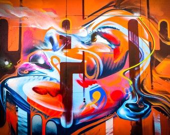 Graffiti Street Art, Wall Art Living Room, Orange Girl, spray paint art, urban decor, New York Print, Boyfriend Birthday Gift, extra large