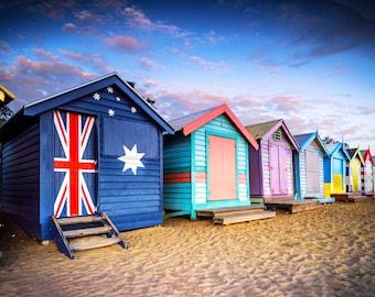 Brighton Beach Boxes, Seaside Decor, Australian made, Brighton Beach Huts, Melbourne Photography, Travel Photo, House warming Gift, Coastal