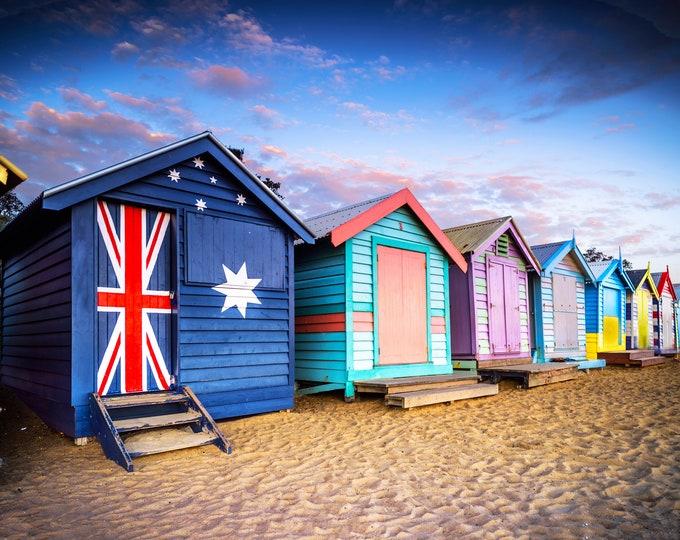 Featured listing image: Brighton Beach Boxes, Seaside Decor, Australian made, Brighton Beach Huts, Melbourne Photography, Travel Photo, House warming Gift, Coastal