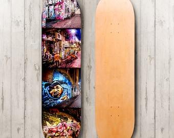 Skateboard Art, Boys Room Decor, Graffiti Wall Art, Skatedeck Decor, Melbourne Street Art Photo, Teen Boy Room Gift for Him Loungeroom Decor