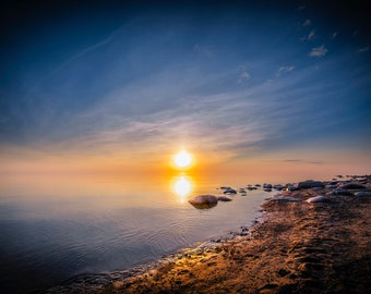 Latvian Photo, foggy beach, coastal print, Riga Latvia, sunset photography print, Baltic Sea, beach decor, rocky coast, seascape wall art