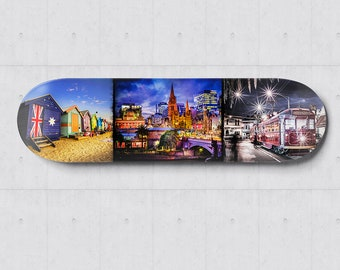 Skateboard Wall Art, Skatedeck Decor, Melbourne Australia, Brighton Beach, Melbourne Tram, Graffiti Street Art, Apartment Art, Birthday Gift