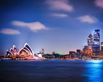 Sydney Print, Sydney Opera House, Harbour Bridge, Australia Poster, Travel Poster, Wedding Gifts for Couple, city wall art, night sky print