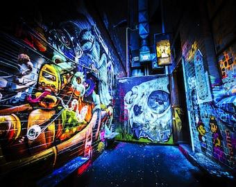 Street Art Mural, Melbourne Photography, Graffiti wall art, blue poster, skull decor, urban photography, ACDC Lane, Boyfriend Gift, Fathers