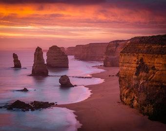 Twelve Apostles, Great Ocean Road Print, Seascape Sunset Photograph, Australian Made, Extra Large Coastal Wall Art, April Birthday Gift