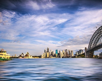 Sydney Harbour Print, Sydney Harbour Bridge, Opera House, Australia Poster, Zoom background, office wall art, Photography Prints, gift for