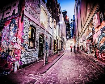 Street Art Print, Graffiti Wall Art, Melbourne Poster, Hosier Lane, Pink Decor, urban photography, lounge decor, Girlfriend Gift, travel art